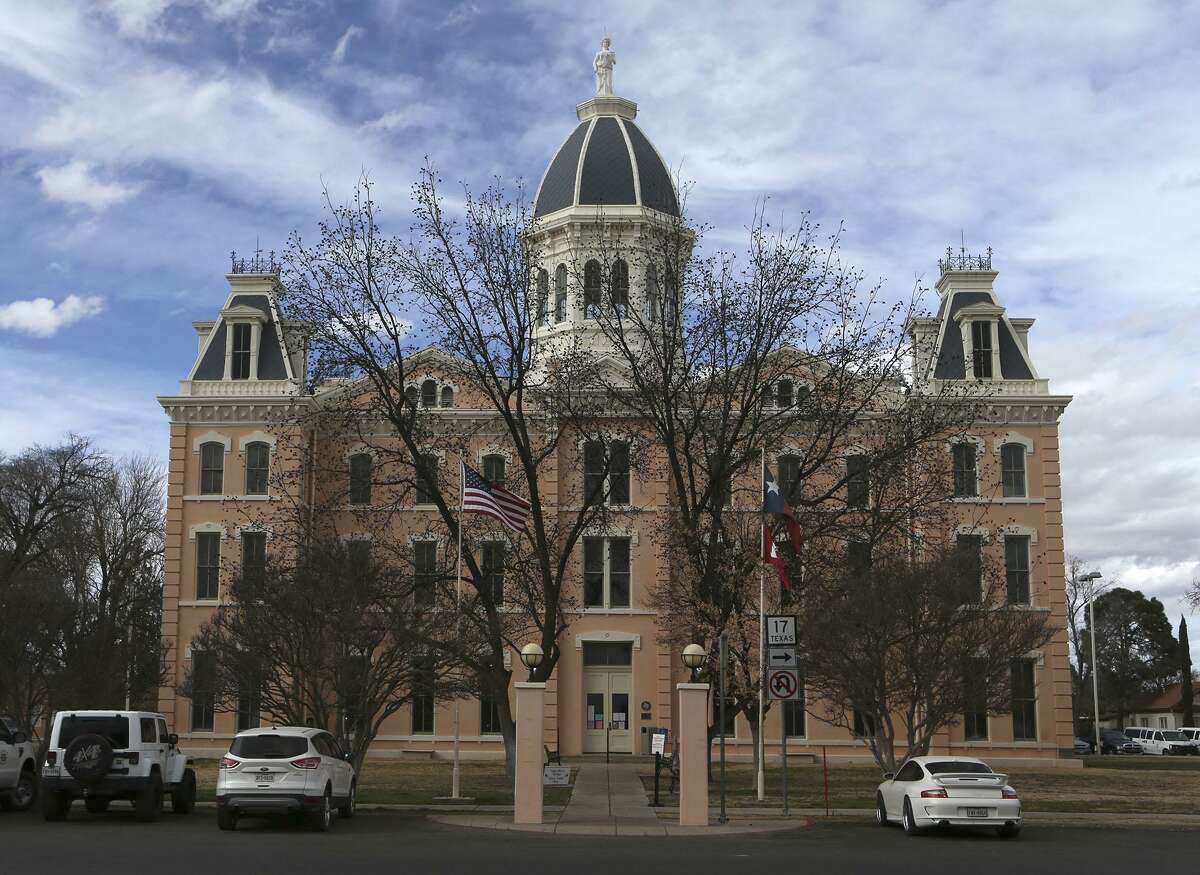 A landmark in Marfa, the old Presidio County Courthouse housed Rick Thompson's tax assessor's office. He wore two hats, as the sheriff and tax assessor. Thompson is being released this month after serving 26 years in prison for cocaine smuggling.