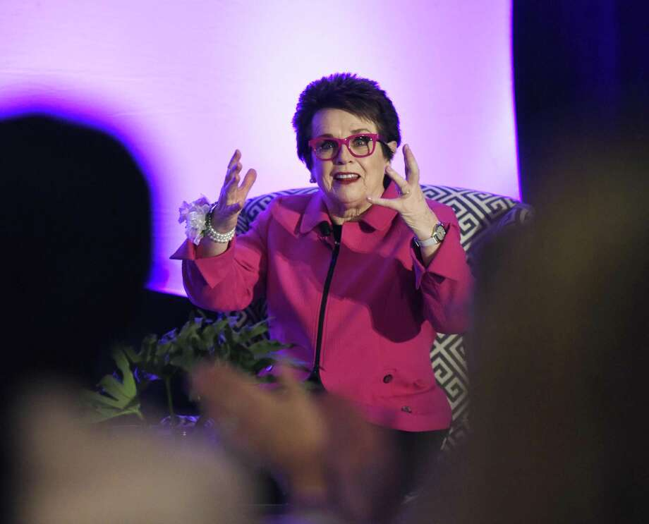 "Tennis legend Billie Jean King speaks during Fairfield County's Community Foundation's Fund for Women & Girls ""Courage to Create Change"" annual luncheon at the Hyatt Regency in Old Greenwich, Conn. Thursday, April 5, 2018. Billie Jean King, a tennis legend as well as a women's and LGBT advocate, delivered the keynote discussion. The event raised money and celebrated 20 years of support that has allowed women to succeed financially, helped girls develop self-confidence and leadership skills, and helped thousands overcome sexual assault and domestic violence. Photo: Tyler Sizemore / Hearst Connecticut Media / Greenwich Time"