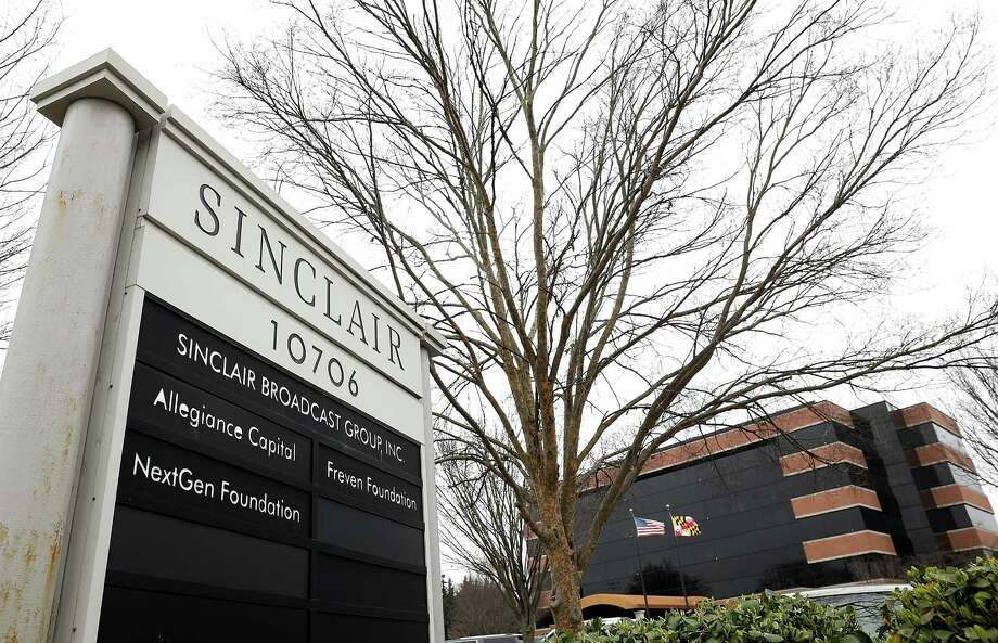 "The headquarters of the Sinclair Broadcast Group in Hunt Valley, Maryland. The company, the largest owner of local television stations in the United States, has drawn attention recently for repeating claims by U.S President Donald Trump that traditional television and print publications offer ""fake"" or biased news. Photo: Win McNamee /Getty Images / 2018 Getty Images"