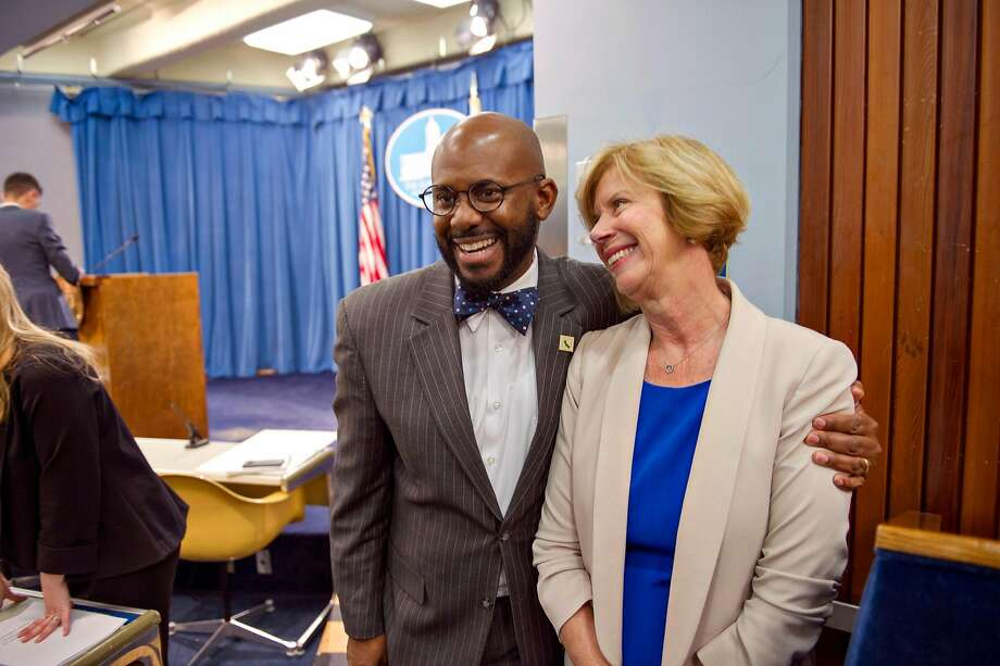 Assemblyman Mike Gipson, D-Carson (Los Angeles County), with Los Angeles County Supervisor Janice Hahn. Photo: Chris Kaufman / Special To The Chronicle