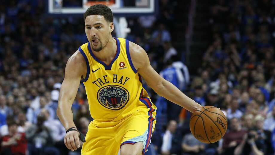 Golden State Warriors guard Klay Thompson during an NBA basketball game between the Golden State Warriors and the Oklahoma City Thunder in Oklahoma City, Tuesday, April 3, 2018. (AP Photo/Sue Ogrocki) Photo: Sue Ogrocki / Associated Press