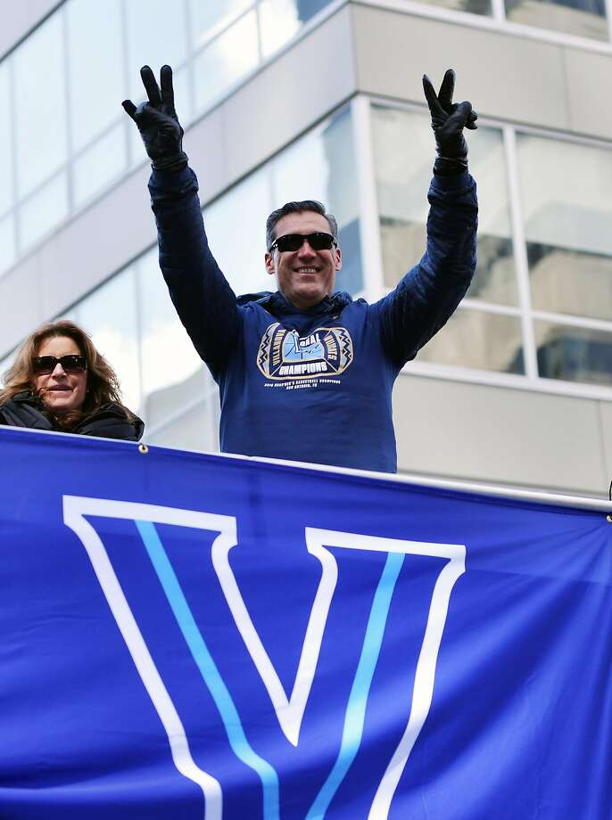 PHILADELPHIA, PA - APRIL 05: Head coach Jay Wright of the Villanova Wildcats acknowledges the crowd during the Championship Parade on April 5, 2018 in Philadelphia, Pennsylvania. (Photo by Drew Hallowell/Getty Images) Photo: Drew Hallowell, Getty Images
