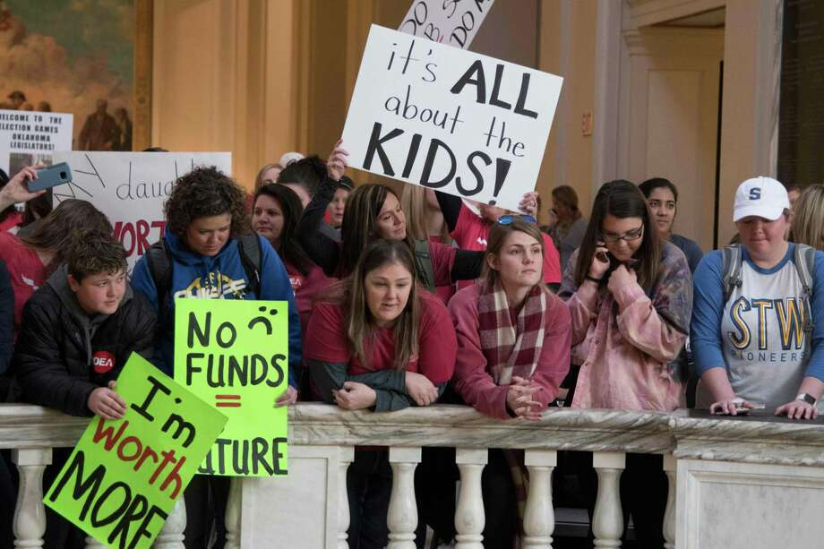 Kids join the teachers rally at the state capitol in Oklahoma City on April 4, 2018, as Oklahoma becomes the latest state to be plagued by teacher strife. Photo: J PAT CARTER,  Contributor / AFP/Getty Images / AFP or licensors