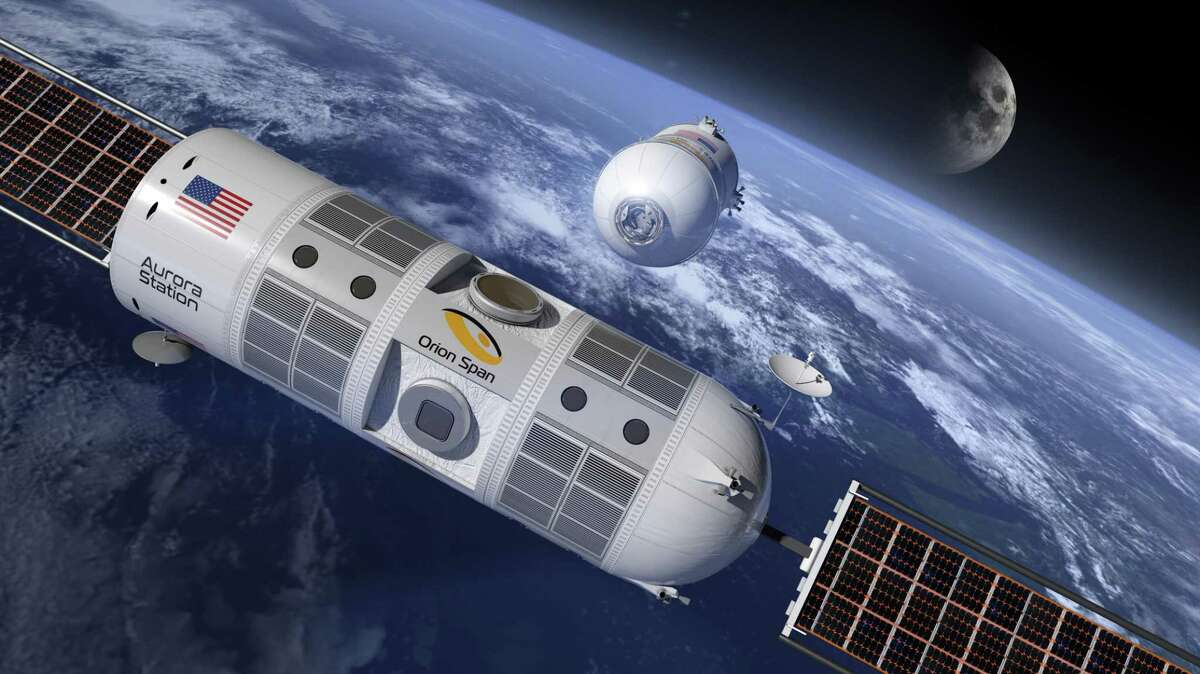 Rendering of the Aurora Station. This could be the first hotel in outer space, and it's being built by Orion Span, a space technology company in Houston and Silicon Valley.