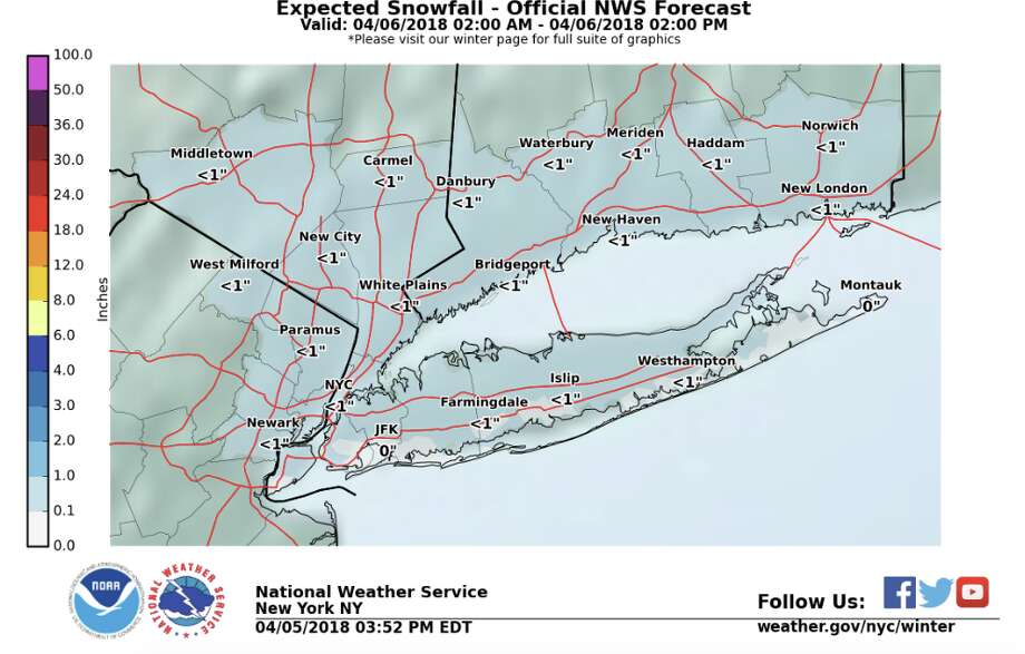 The National Weather Service is still forecasting a quick burst of snow for early Friday morning before changing over to rain by late morning. Generally less than an inch of snow expected. Photo: National Weather Service