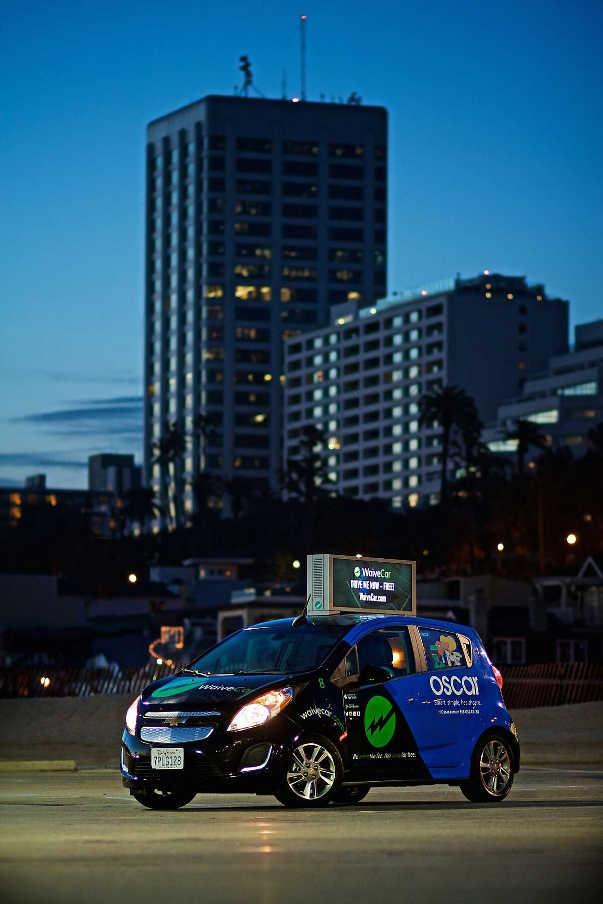Santa Monica's WaiveCar plans to offer free car rentals to Los Angeles drivers for Uber, Lyft, DoorDash and other services, subsidized by ads wrapped around the car and on rooftop digital displays. Regular people can drive the cars for free for two hours, after which they are $6/hour.