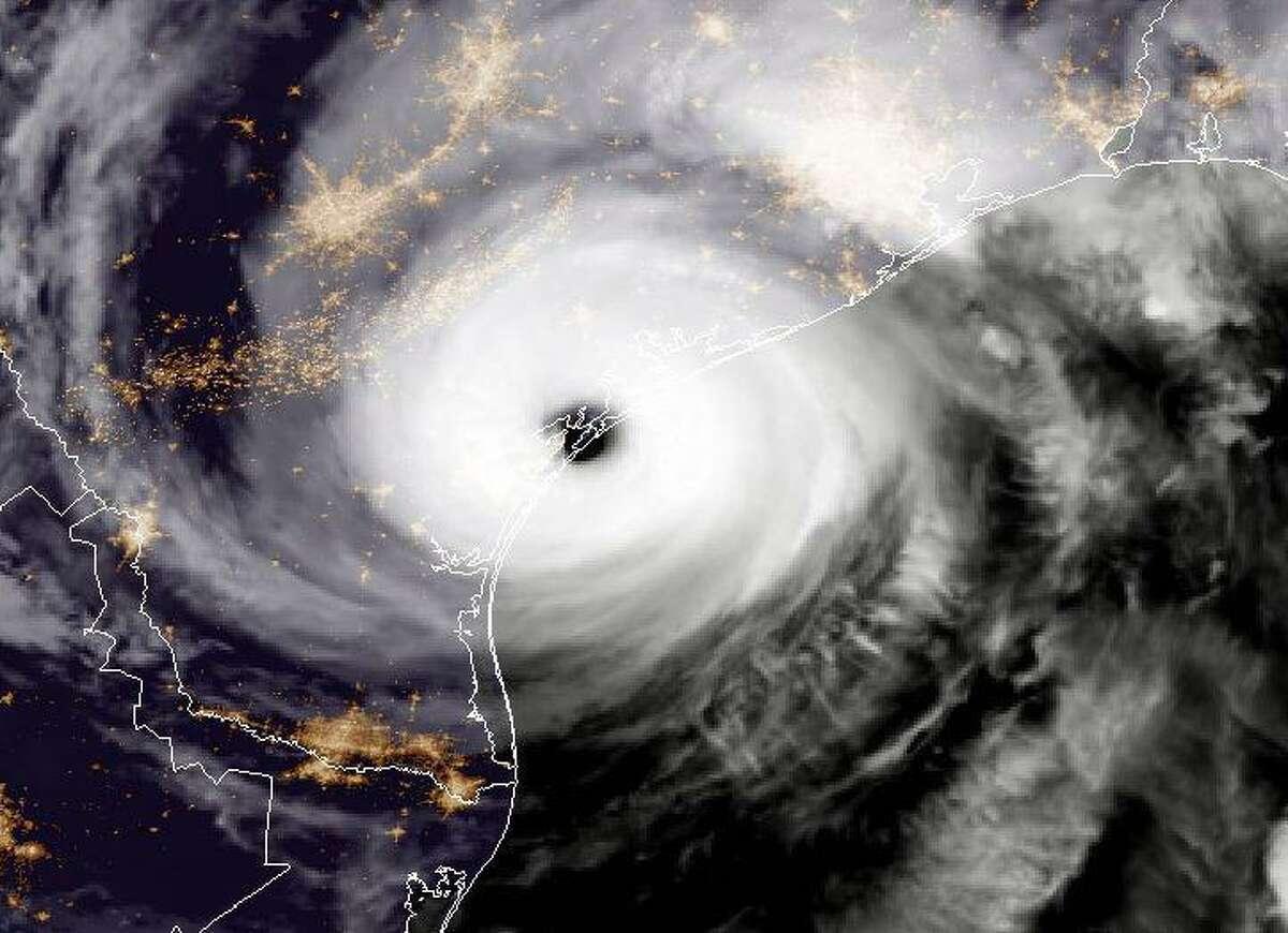 NOAA's GOES East satellite capture of Hurricane Harvey shows the storm making landfall on the Texas coast on Aug. 25.