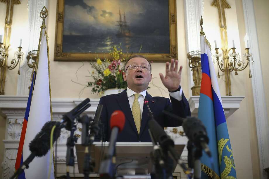 Alexander Yakovenko, Russian ambassador to Britain, speaks about the nerve agent attack on former double agent Sergei Skripal and his daughter. Russia denies any responsibility. Photo: Yui Mok / Associated Press