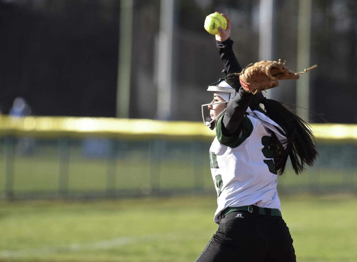 Norwalk's Brianny Garcia pitches against Newtown in Thursday's game at Newtown.