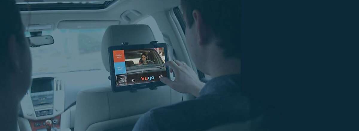 Startup Vugo makes software for tablet displays in the back seats of ride-hailing cars that show videos and commercials.