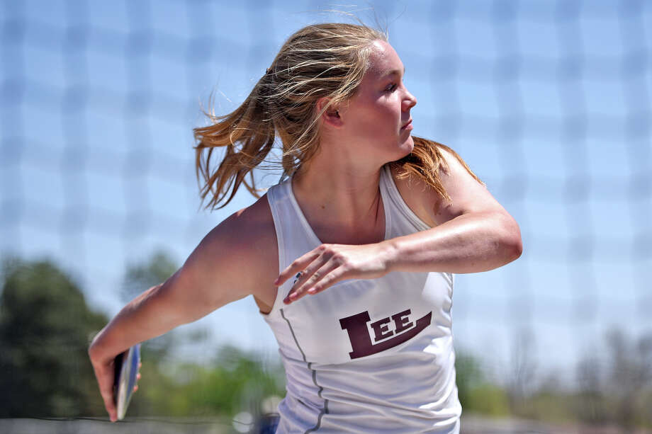 Lee's Paige Low warms up before the discus event during the District 2-6A track meet April 5, 2018, at Memorial Stadium. James Durbin/Reporter-Telegram Photo: James Durbin