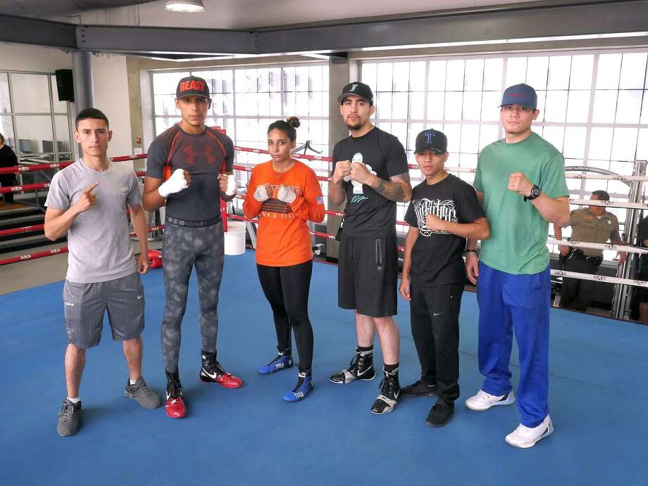 "Laredo will be well-represented at the ""Battle of the Borderland 1"" showdown set for Saturday at Laredo Energy Arena. On the fight card from left to right: Israel Camacho, Rodolfo ""Cobrita"" Gomez, Larizza Martinez, Joshua Juarez and Jose Martinez. Photo: Cuate Santos /Laredo Morning Times / Laredo Morning Times"