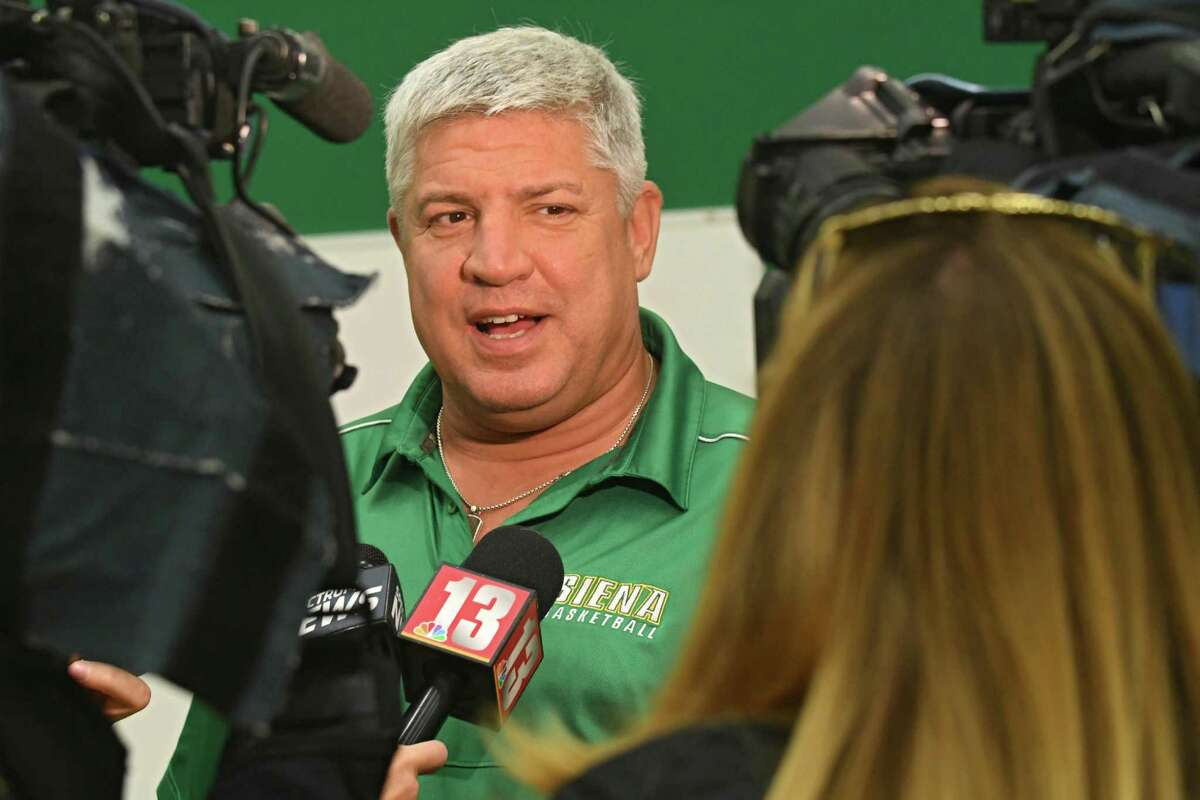Coach Jimmy Patsos answers questions from the press during Siena basketball media day at Siena College on Friday, Oct 13, 2017 in Loudonville N.Y. (Lori Van Buren/Times Union)