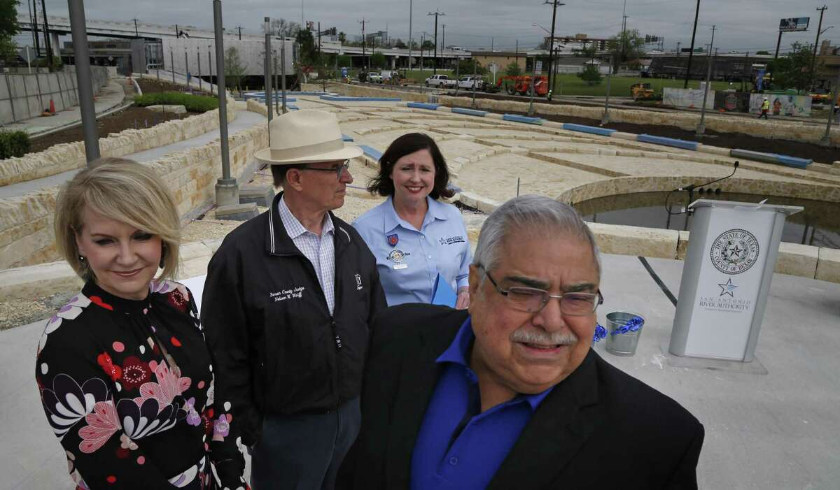 County Judge Nelson Wolff and Commissioner Paul Elizondo - seen at a function with Trish DeBerry (left) and Suzanne Scott -