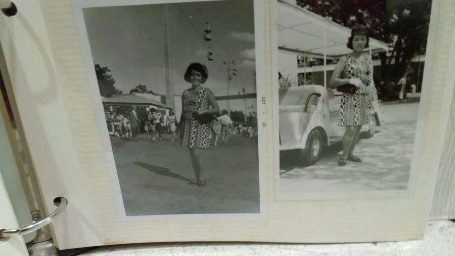 Teruyo Parrott, a bilingual VIP guide, poses for photos at the HemisFair '68 fairgrounds. Photo: Photo Courtesy Of Teruyo Parrott