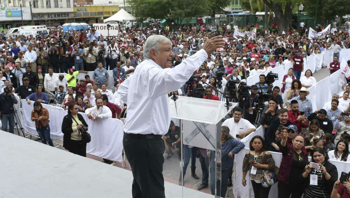 Mexican presidential candidate Andres Manuel Lopez Obrador addresses a large crowd during a campaign stop at the Esplanada Independencia in Nuevo Laredo, Mexico, Thursday, April 5, 2018. Lopez Obrador was on a tour of border cities with stops in Reynosa and Matamoros through the weekend. He is with the National Regeneration Movement and is ahead of the polls in the July 1st election.