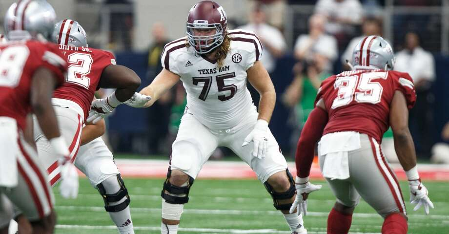 Texas A&M senior offensive lineman Koda Martin had a close call with death this week, according to his father, former Manvel coach and current Syracuse quarterbacks coach Kirk Martin. Photo: Icon Sportswire/Icon Sportswire Via Getty Images