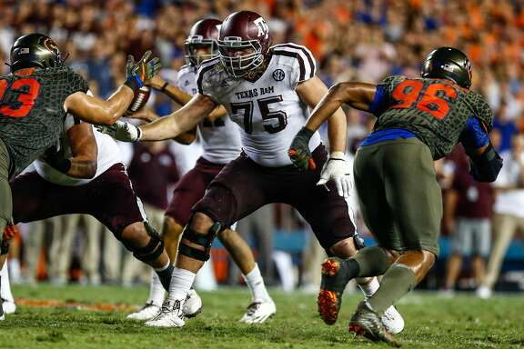 GAINESVILLE, FL - OCTOBER 14: Texas A&M Aggies offensive lineman Koda Martin (75) blocks during the game between the Texas A&M Aggies and the Florida Gators on October 14, 2017 at Ben Hill Griffin Stadium at Florida Field in Gainesville, Fl. (Photo by David Rosenblum/Icon Sportswire via Getty Images)