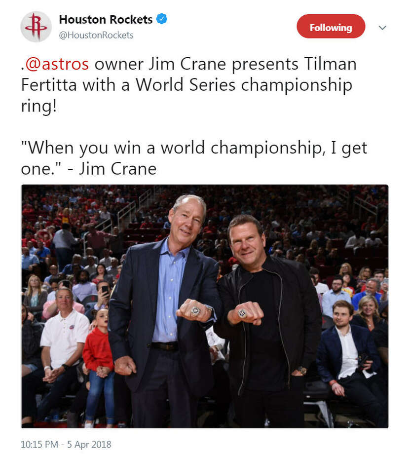 Astros owner Jim Crane presented Rockets owner Tilman Fertitta with a World Series championship ring on April 5, 2018.Image source: TwitterScroll ahead to see Fertitta's response and images from the Astros World Series championship ceremony.  Photo: Houston Rockets