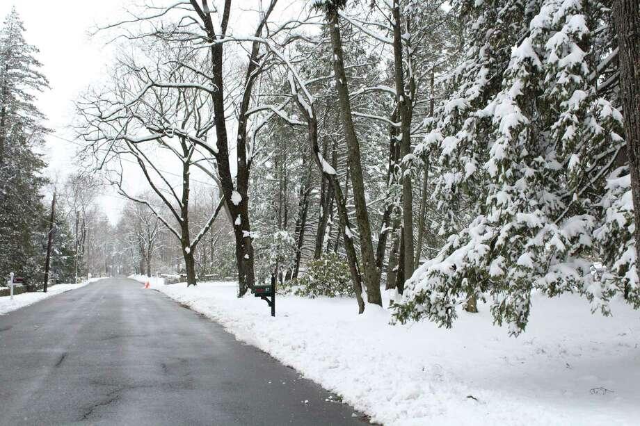 Snow on Marshall Ridge Road in New Canaan on Monday. Photo: Humberto J. Rocha / Hearst Connecticut Media / New Canaan News