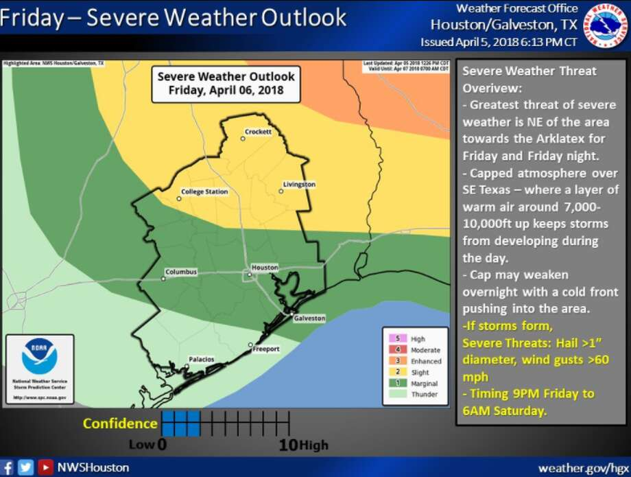 Severe weather is possible Friday night, April 6, 2018 and Saturday morning.