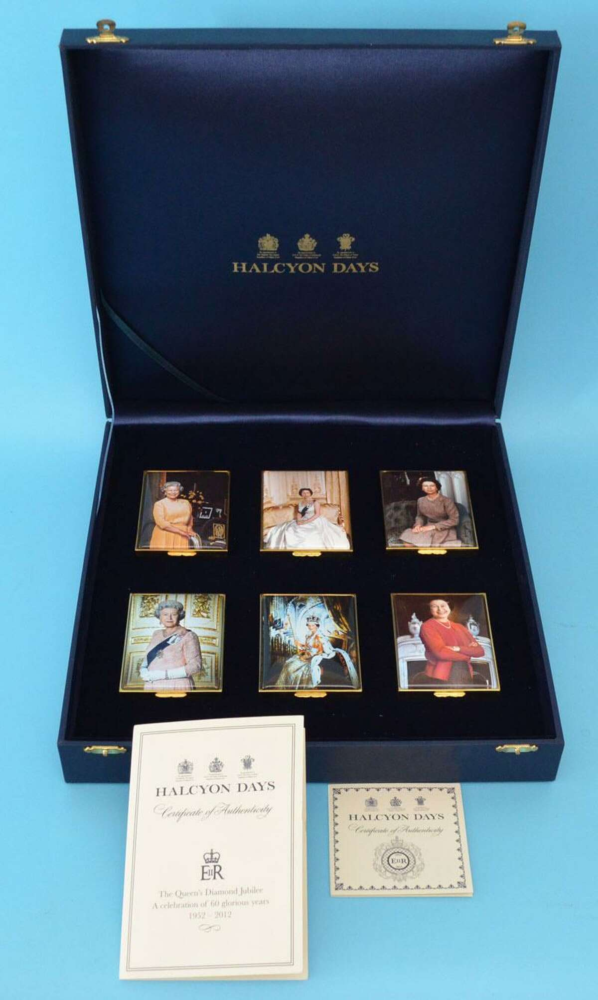 A box set of six Halcyon Days Enamel Queens Jubilee, of which just 25 were made, will be auctioned off from the estate of Charles Barlow, who owned the last residence on New Milford's Village Green. The auction will be held online with Applebrook Auctions on April 26, 2018.