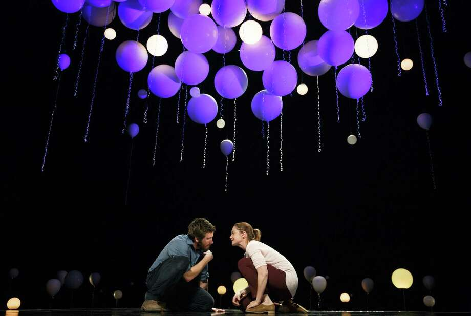 "This publicity photo released by Boneau/Bryan-Brown shows, from left, Jake Gyllenhaal and Ruth Wilson, in a scene from Nick Payne's ""Constellations,"" on Broadway. The play will be part of the Alley Theatre's 2018-19 season. Photo: ©2014 Joan Marcus, HONS / Associated Press / Boneau/Bryan-Brown"
