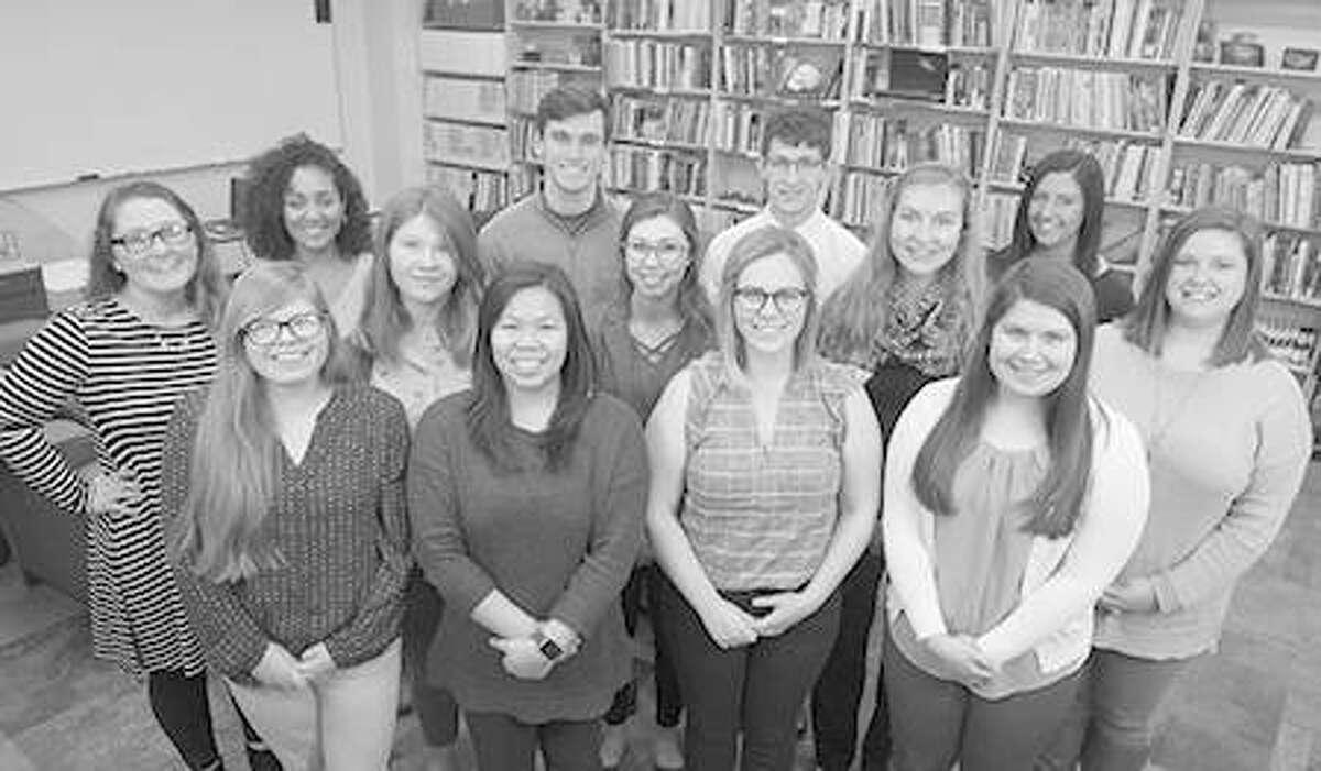 The 2018 Noyce Math and Science Scholars include (L-R) (front) Amanda Parga, Jenna Sanders, Hannah Jackson, Emily Peters, (middle) Tiffani Butler, Katie Ayres, Kenzie Jenkins, Danielle Fogle, Marie Gipson, (back) Breanna Blackwell, Ben Scamihorn, Nathaniel DeRousse and Rachel Towne.