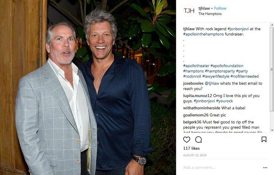 Thomas J. Henry (and family) frequently hangs with celebrities and his law firm is sponsoring the upcoming Celebrity Fan Fest. Keep clicking to see the big names that have been spotted at the attorneys previous events. Seen here in a photo from his Instagram page, Henry poses with singer Jon Bon Jovi. Photo: Instagram/@tjhlaw