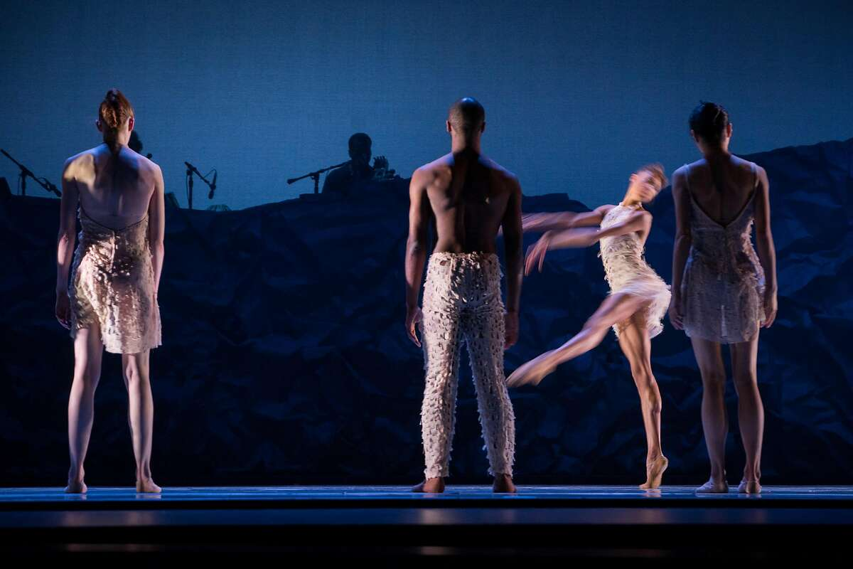 Dancers perform during a dress rehearsal for the world premiere of Alonzo King LINES Ballet 35th Anniversary at YBCA Theater in San Francisco, Calif. on Thursday, April 5, 2018.