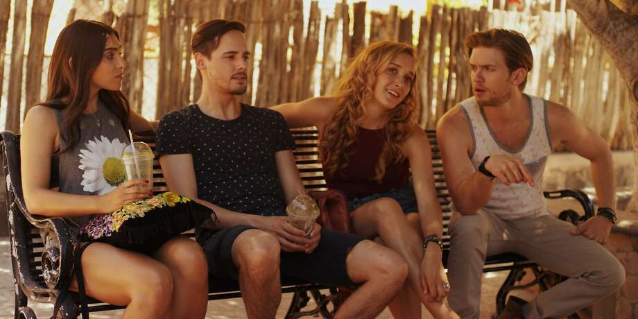 "Carmen (Zoe Corraface, left), Bryan (Jake Thomas), Jessica (Michelle DeShon) and Todd (Chris Brochu) in ""Baja."" Photo: Prankster Entertainment"