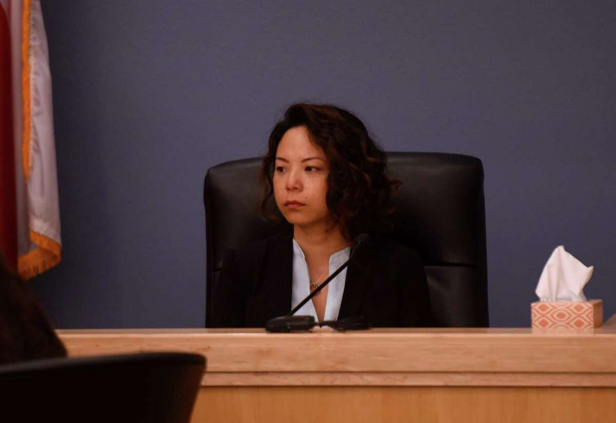 Linda Benavides testifies Friday during the punishment phase of the trial of her husband, Mark Benavides, in Floresville.