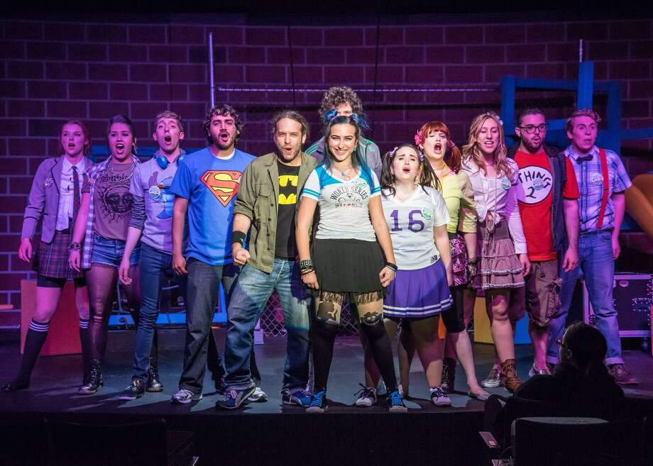 "The 2015 Brookfield Theatre for the Arts production of ""Godspell"" featured Emily Seibert, left, Alexis Willoughby, Rob Bassett, Marcelo Calderon, Joel Bagalia, Julia Bogdanoff, Kate Valiska, Erin West Reed, Brooke Morris, John Mudgett, Ryan J. Taylor, and back row, Karl Hinger. Photo: Steve Cihanek / Contributed Photo"
