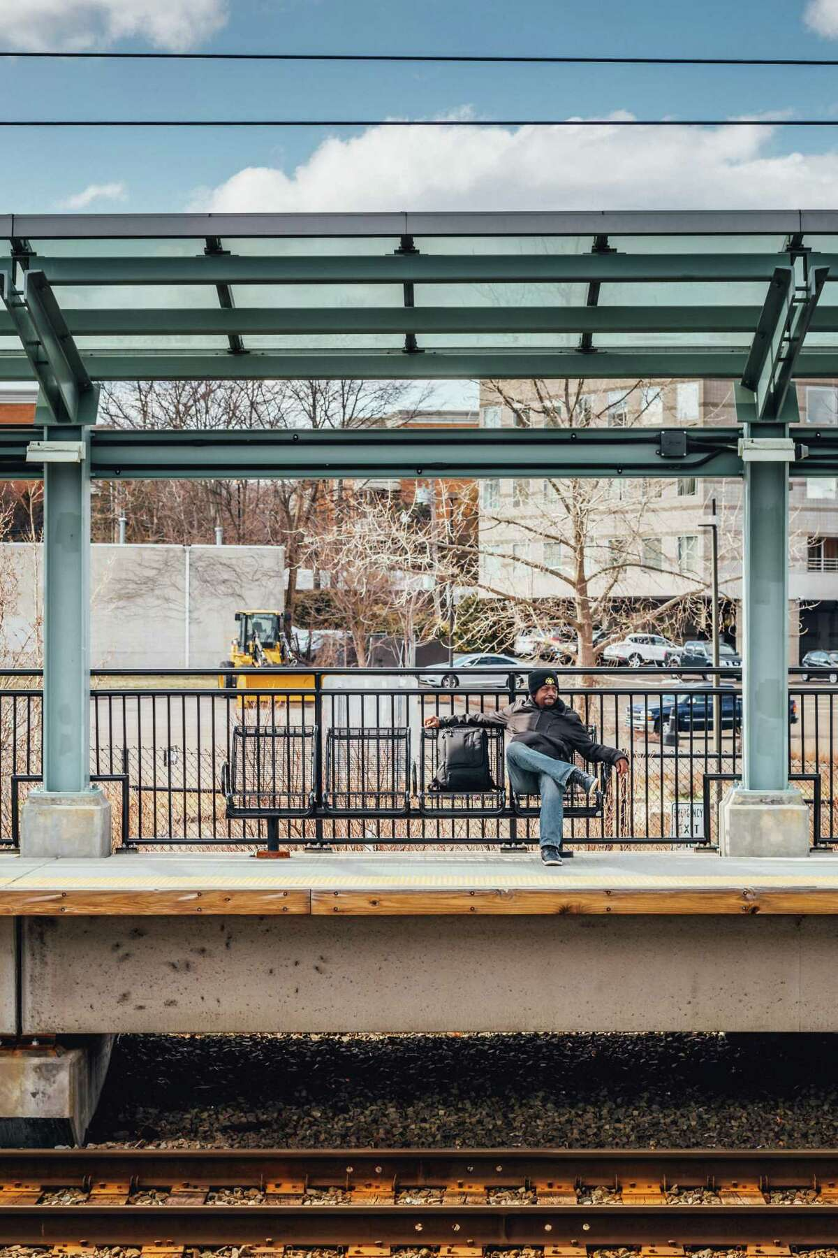 Broadway Musician Carl Carter, waiting for his train at Fairfield Metro North Station, April 5, 2018.