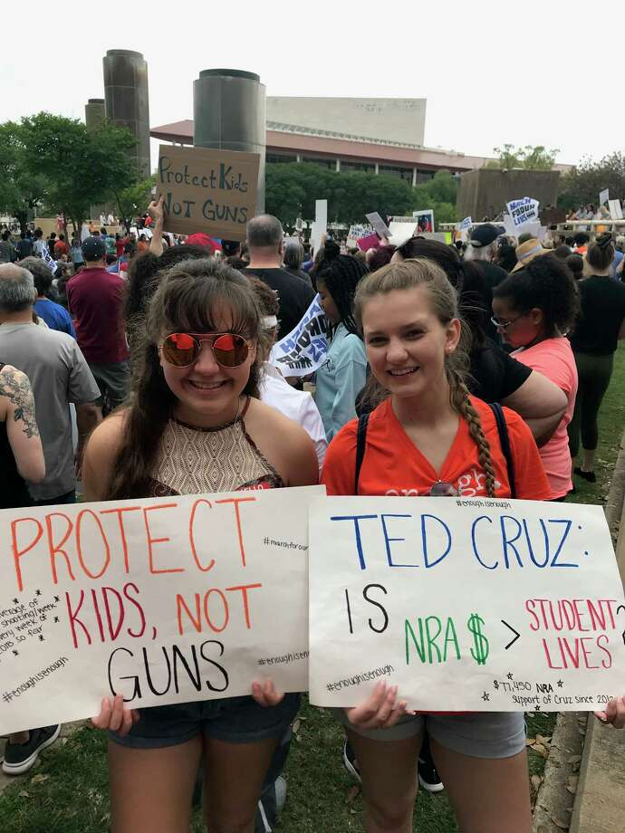 Students from The Woodlands High School participated in the March For Our Lives event at Tranquility Park in Houston on March 24. The students want to keep up the moment by staging a walkout at on their campus on April 20 Photo: Submitted