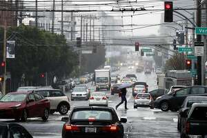 17th st. at Vermont as the rain continues to fall, on Fri. April. 6, 2018  in San Francisco, Calif.