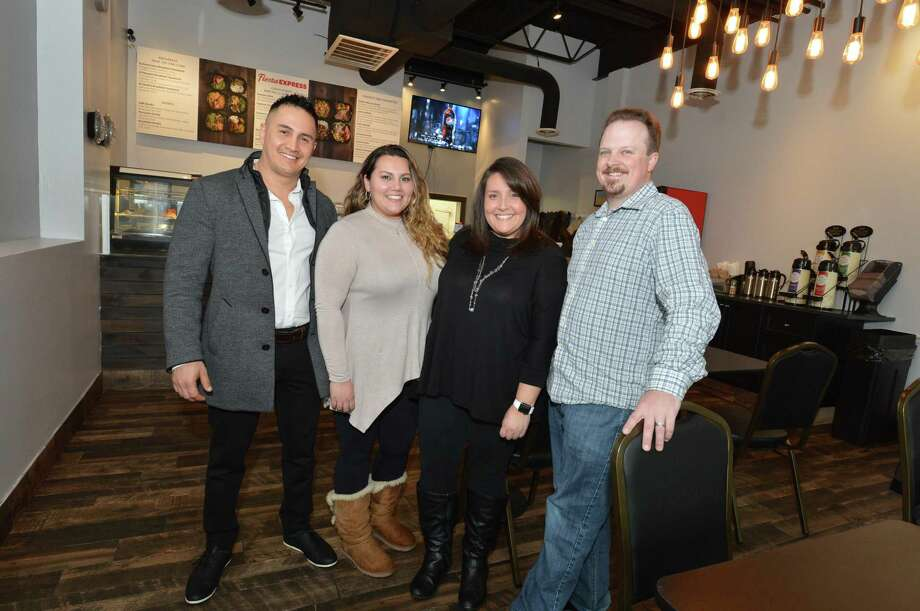 Fiesta Express co- owners Wilson and Shannon Portilla and Ashley and Victor Mathieu in their new Peruvian cuisine restaurant on Main Ave. Norwalk Conn. on Wednesday April 4, 2018 Photo: Alex Von Kleydorff / Hearst Connecticut Media / Norwalk Hour