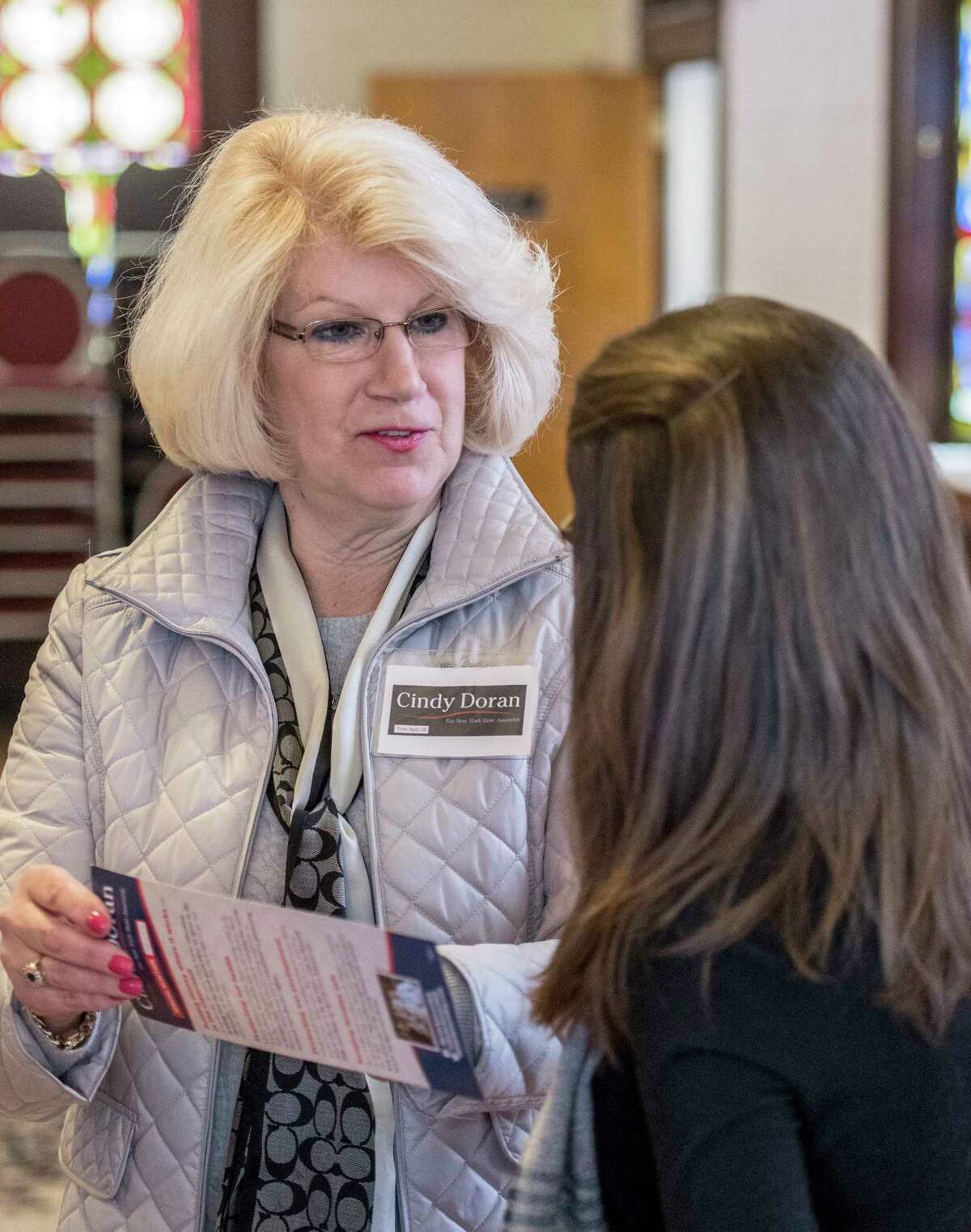 Assembly candidate Cindy Doran, left speaks with a constituent(that asked not to be identified) Friday. 6, 2018 in Troy, N.Y. (Skip Dickstein/Times Union)