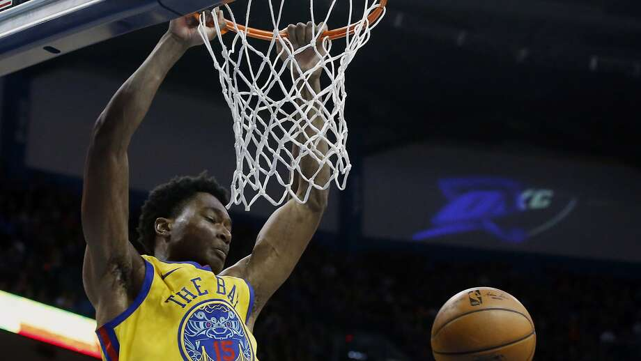 Golden State Warriors center Damian Jones (15) during an NBA basketball game between the Golden State Warriors and the Oklahoma City Thunder in Oklahoma City, Tuesday, April 3, 2018. Photo: Sue Ogrocki / Associated Press