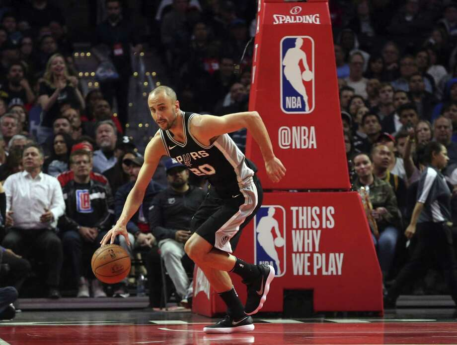 San Antonio Spurs guard Manu Ginobili (20), of Argentina, in action against the Los Angeles Clippers in the third quarter of an NBA basketball game in Los Angeles Tuesday, April 3, 2018. The Clippers won, 113-110. (AP Photo/Reed Saxon) Photo: Reed Saxon, STF / Associated Press / Copyright 2018 The Associated Press. All rights reserved. This material may not be published, broadcast, rewritten or redistribu