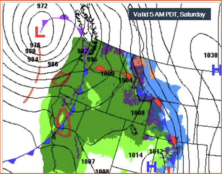 Strong winds are expected to hit Washington's coast Saturday, with less powerful but still gusty winds farther inland. Photo: NOAA