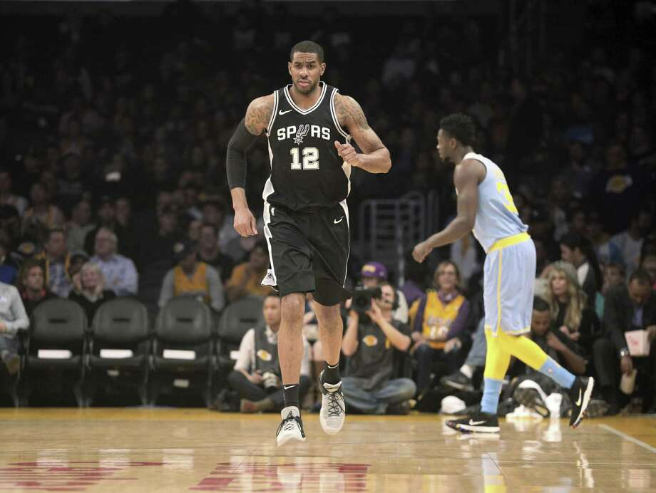San Antonio Spurs forward LaMarcus Aldridge (12) during the first quarter of an NBA basketball game in Los Angeles Wednesday, April 4, 2018. The Lakers won in overtime 122-112. (AP Photo/Reed Saxon) Photo: Reed Saxon, STF / Associated Press / Copyright 2018 The Associated Press. All rights reserved. This material may not be published, broadcast, rewritten or redistribu