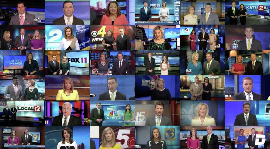 "A Deadspin composite video shows Sinclair Broadcast Group stations reading a scripted statement warning against ""biased and false news."" A reader applauds this effort. Photo: /"