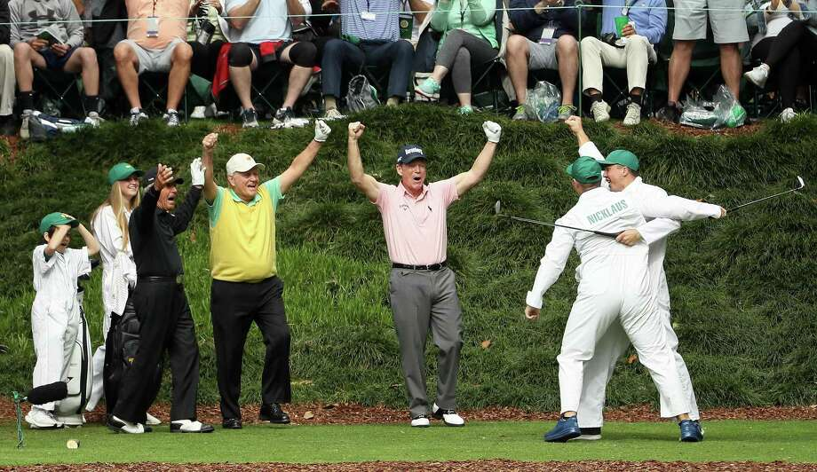 AUGUSTA, GA - APRIL 04:  Gary Nicklaus, Jr. celebrates hitting a hole-in-one on the ninth tee with his grandfather Jack Nicklaus, Gary Player and Tom Watson during the Par 3 Contest prior to the start of the 2018 Masters Tournament at Augusta National Golf Club on April 4, 2018 in Augusta, Georgia.  (Photo by Jamie Squire/Getty Images) *** BESTPIX *** Photo: Jamie Squire / 2018 Getty Images