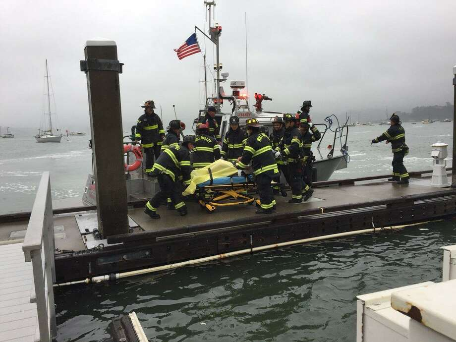 Fire crews rescued a 37-year-old woman after the boat she lives on caught fire in Richardson Bay. Photo: Southern Marin Fire
