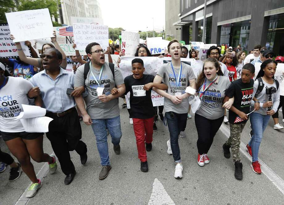 The March for Our Lives protest two weeks ago included 10-year-old Dezmond Floyd of Humble, center, as area students rallied in support of the national movement. Photo: Karen Warren, Staff / Houston Chronicle / © 2018 Houston Chronicle
