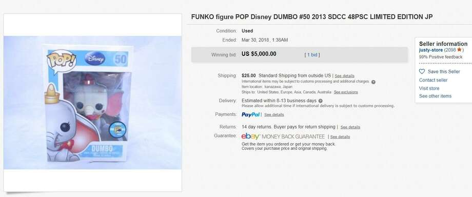 Dumbo (clown) — $5,000  Funko made less than 50 versions of Dumbo's turn as circus clown in the 1941 Disney animated classic. One of those figures sold for $5,000 on eBay. Photo: Screenshot