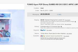Dumbo (clown) — $5,000  Funko made less than 50 versions of Dumbo's turn as circus clown in the 1941 Disney animated classic. One of those figures sold for $5,000 on eBay.