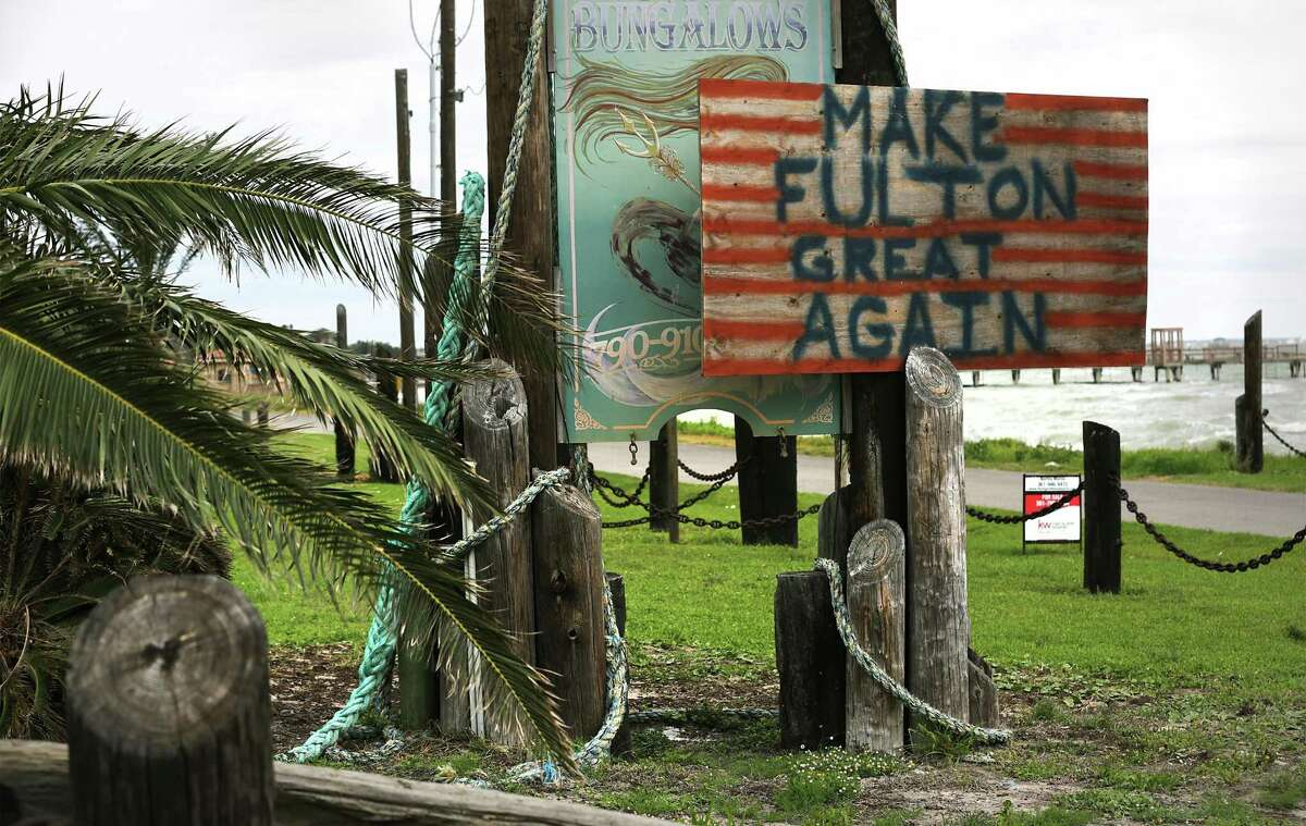 A sign in Fulton near the damaged Sandollar Resort reminds residents there is still work to do following the hurricane. Many area residents attend counseling session to help them deal with the stress that has stayed with them from Hurricane Harvey, on Wednesday, April 4, 2018.