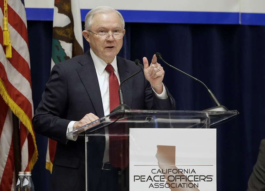 FILE - In this March 7, 2018, file photo, U.S. Attorney General Jeff Sessions addresses the California Peace Officers' Association at the 26th Annual Law Enforcement Legislative Day in Sacramento, Calif. Orange County is considering two proposals to fight back against California's so-called sanctuary law for immigrants. The backlash to the state's effort to protect immigrants from stepped up deportations under the Trump administration comes a week after Los Alamitos voted to seek to exempt itself from the law. (AP Photo/Rich Pedroncelli, File) Photo: Rich Pedroncelli / Associated Press